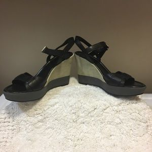"""Cole Haan """"Paley"""" black leather suede wedge 7 1/2"""